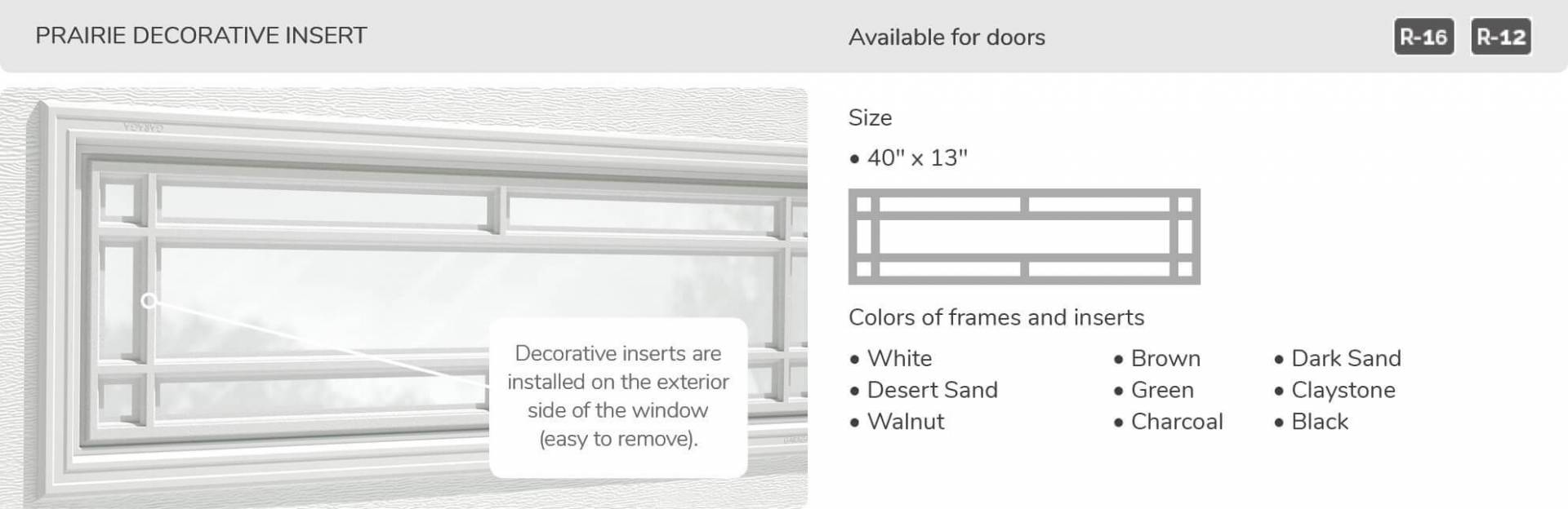 Prairie Decorative Insert, 40' x 13', available for doors R-16 and R-12